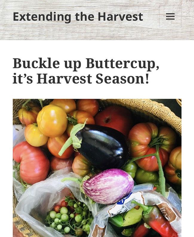 Extending the Harvest Blog